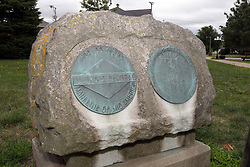 McLean County Illinois monuments and landmarks<br /> <br /> A small memorial of bronze on granite saluting the 100 years the Main Line of the Illinois Central Railroad served central Illinois and the heartland.  The memorial is located on the square in LeRoy Illinois.