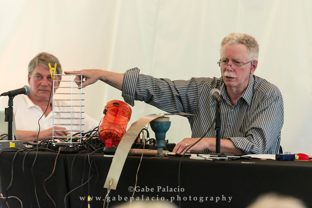 Sound artists John Driscoll and Phil Edelstein of the group Composers Inside Electronics discuss the science and history behind electronic music pioneer David Tudor&rsquo;s seminal sound installation, Rainforest IV at the Sonic Delights Festival celebrating the In the  Garden of Sonic Delights sound art exhibition at Caramoor in Katonah New York on July 20, 2014. <br /> (photo by Gabe Palacio)