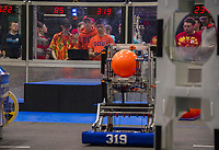 "The ""Big Bad Bob"" team from Alton/Prospect Mountain High School competes during the qualifying round of the Governor's Cup FirstNH Robotics Competition held in the All Well North complex at PSU on Saturday.   (Karen Bobotas/for the Laconia Daily Sun)"