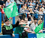Pau fans enjoying the pre match atmosphere<br /> <br /> Photographer Simon King/Replay Images<br /> <br /> European Rugby Challenge Cup - Semi Final - Cardiff Blues v Pau - Saturday 21st April 2018 - Cardiff Arms Park - Cardiff<br /> <br /> World Copyright &copy; Replay Images . All rights reserved. info@replayimages.co.uk - http://replayimages.co.uk