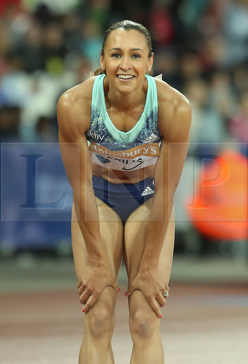 © Licensed to London News Pictures. 24/07/2015. London, UK. Olympic heptathlon champion Jessica Ennis-Hill finished fifth in the 100m hurdles in the Diamond League at the Olympic Stadium as part of the Sainsbury's Anniversary Games. Photo credit: LNP