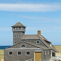Old Harbor Life Saving Station at the northern tip of Cape Cod, Massachusetts, USA. Cape Cod National seashore.