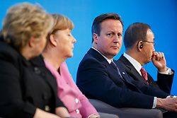© Licensed to London News Pictures. 04/02/2016. London, UK. Norwegian Prime Minister Erna Solberg, Chancellor of Germany Angela Merkel, Prime Minister David Cameron and Secretary-General of the United Nations Ban Ki-moon speaking at a press conference at 'Supporting Syria and the Region Conference' in London on February 4, 2016. Photo credit: Tolga Akmen/LNP