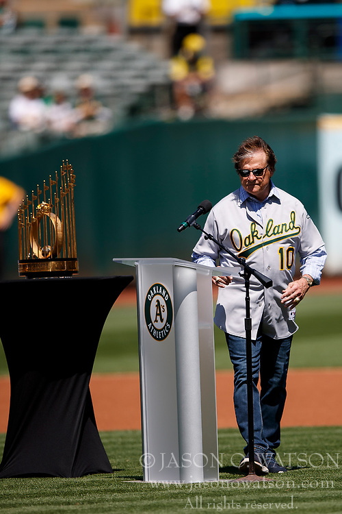 OAKLAND, CA - AUGUST 25:  Former manager Tony La Russa of the Oakland Athletics speaks during a ceremony honoring the 1989 World Series championship team before the game against the San Francisco Giants at the RingCentral Coliseum on August 25, 2019 in Oakland, California. The San Francisco Giants defeated the Oakland Athletics 5-4. (Photo by Jason O. Watson/Getty Images) *** Local Caption *** Tony La Russa