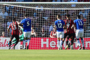 Goal - Ryan Fraser (24) of AFC Bournemouth beats Jordan Pickford (1) of Everton to score a goal to make the score 2-1 during the Premier League match between Bournemouth and Everton at the Vitality Stadium, Bournemouth, England on 15 September 2019.