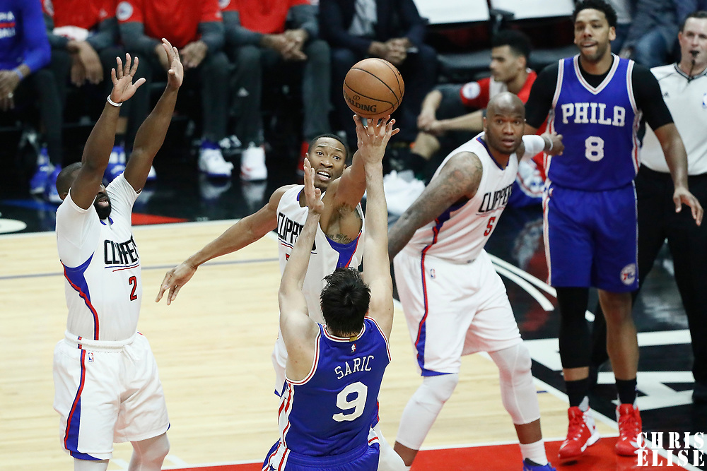 11 March 2017: Philadelphia 76ers forward Dario Saric (9) takes a jump shot over LA Clippers forward Wesley Johnson (33) during the LA Clippers 112-100 victory over the Philadelphia Sixers, at the Staples Center, Los Angeles, California, USA.