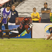 10 September 2016: The San Diego State Aztecs football team hosts Cal in their second game of the season. San Diego State cornerback Damonte Kazee (23) intercepts the ball with 18 seconds left in the game. The Aztecs beat Cal 45-40 to keep their win streak at 12 games going back to last season and improve their record to 2-0.
