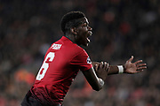 Paul Pogba, French midfielder for Manchester United claims for a penalty by had in the area of Valencia CF