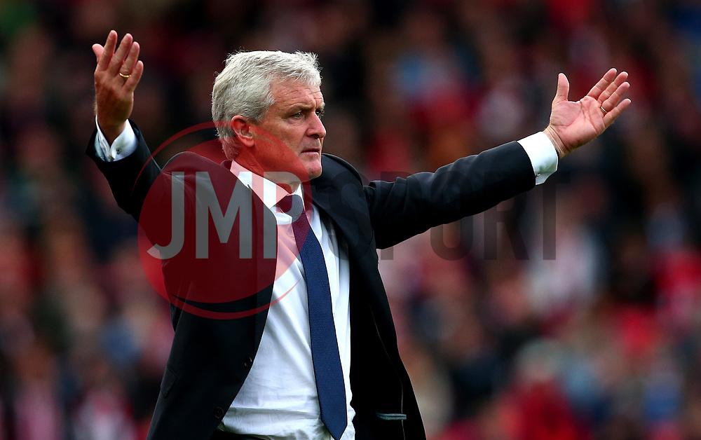 Stoke City manager Mark Hughes cuts a frustrated figure - Mandatory by-line: Robbie Stephenson/JMP - 19/08/2017 - FOOTBALL - Bet365 Stadium - Stoke-on-Trent, England - Stoke City v Arsenal - Premier League