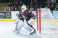 KELOWNA, CANADA - OCTOBER 22: Jackson Whistle #1 of the Kelowna Rockets defends the net against the Calgary Hitmen on October 22, 2013 at Prospera Place in Kelowna, British Columbia, Canada.   (Photo by Marissa Baecker/Shoot the Breeze)  ***  Local Caption  ***