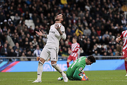 January 24, 2019 - Madrid, Spain - Real Madrid's Sergio Ramos and Girona FC's Gorka Iraizoz during Copa del Rey match between Real Madrid and Girona FC at Santiago Bernabeu Stadium. (Credit Image: © Legan P. Mace/SOPA Images via ZUMA Wire)