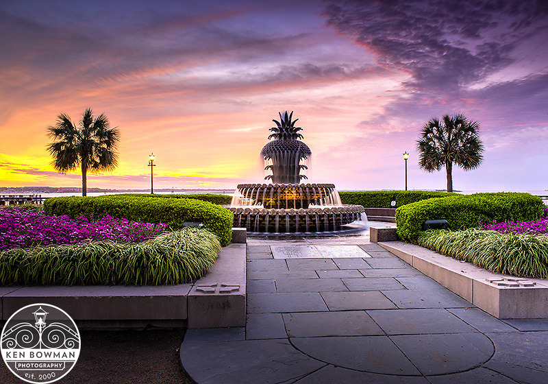 Waterfront Park Pineapple Fountain sunrise 2015.