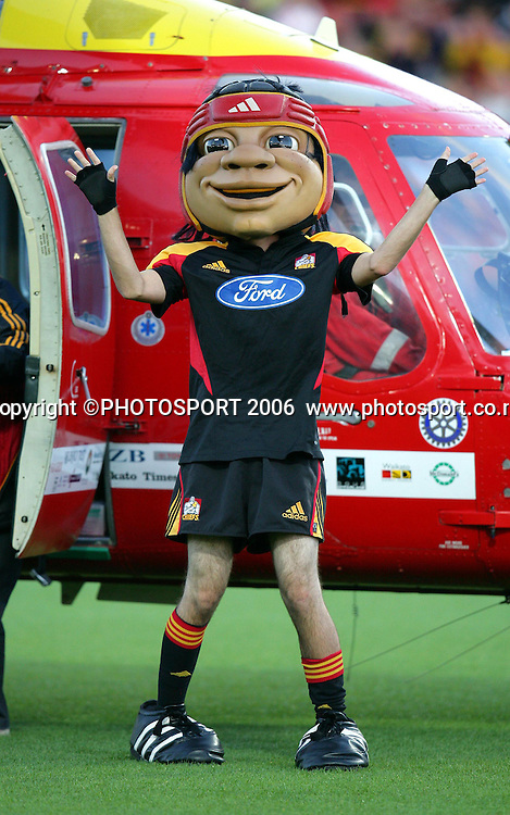 The Chiefs mascot arrives by helicopter before the start of the Super 14 rugby union match at Waikato Stadium between the Crusaders and Chiefs, with the Crusaders winning 25-19, in Hamilton on Friday 10 March 2006. Photo: Stephen Barker/PHOTOSPORT