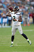 Seattle Seahawks quarterback Trevone Boykin (2) throws a pass during the 2017 NFL week 1 preseason football game against the against the Los Angeles Chargers, Sunday, Aug. 13, 2017 in Carson, Calif. The Seahawks won the game 48-17. (©Paul Anthony Spinelli)
