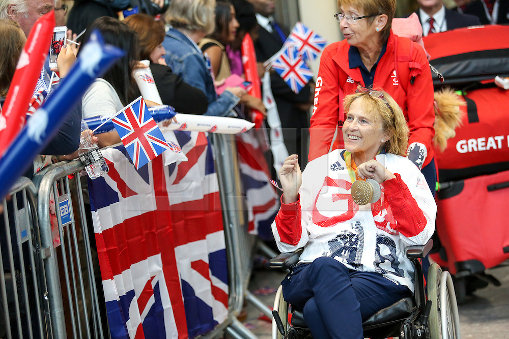 © Licensed to London News Pictures. 20/09/2016. London, UK. Team GB Paralympian ANNE DUNHAM arrives at terminal 5 of London Heathrow Airport after flying on British Airways flight BA2016. Dunham won gold and silver in equestrian events. Team GB finished second in the Paralympics medals table with 147 medals beating their total of 120 at London 2012. Photo credit : Tom Nicholson/LNP