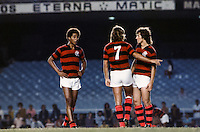 Geraldo Assoviador / Narciso Horacio Doval / Zico -  19.05.1975 - Flamengo - Championnat du Bresil-<br /> Photo : PPG / Icon Sport