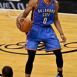 Jun 19, 2012; Miami, FL, USA; Oklahoma City Thunder point guard Russell Westbrook (0) against the Miami Heat during the third quarter in game four in the 2012 NBA Finals at the American Airlines Arena. Mandatory Credit: Derick E. Hingle-US PRESSWIRE