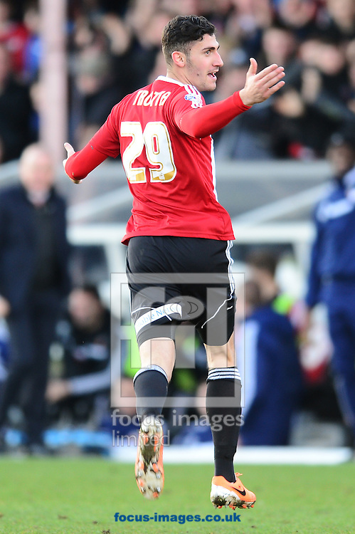 Picture by Alex Broadway/Focus Images Ltd +44 7905 628183<br /> 11/01/2014<br /> Marcello Trotta of Brentford celebrates his opening goal during the Sky Bet League 1 match at Griffin Park, London.