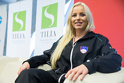 Tadeja Majeric during press conference of Slovenian women Tennis team before Fedcup tournament in Tallinn, Estonia, on January 28, 2015 in Kristalna palaca, Ljubljana, Slovenia. Photo by Vid Ponikvar / Sportida