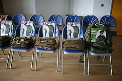 © Licensed to London News Pictures. 26/04/2016. Redcar, UK. Costumes are laid out ahead of filming for the build up to the 2018 Festival of Thrift. 80 volunteers are helping artist and film-maker Richard DeDomenici make a 'Redux' version of the five minute Dunkirk scene from the 2007 Oscar winning film Atonement on Redcar beach. The Festival of Thrift, 19th – 25th August 2018, is a week-long programme of temporary art installations in locations across the Tees Valley landscape. Photo credit: Nigel Roddis/LNP