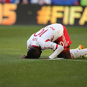 Lloyd Sam, New York Red Bulls, reacts after shooting wide during the New York Red Bulls Vs New England Revolution, MLS Eastern Conference Final, first leg at Red Bull Arena, Harrison, New Jersey. USA. 23rd November 2014. Photo Tim Clayton