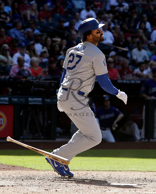 Los Angeles Dodgers left fielder Matt Kemp (27) in the first inning during a baseball game against the Arizona Diamondbacks, Thursday, May 3, 2018, in Phoenix. (AP Photo/Rick Scuteri)