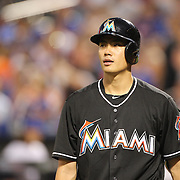 NEW YORK, NEW YORK - July 05: Pitcher Wei-Yin Chen #54 of the Miami Marlins striking out while batting during the Miami Marlins Vs New York Mets regular season MLB game at Citi Field on July 05, 2016 in New York City. (Photo by Tim Clayton/Corbis via Getty Images)