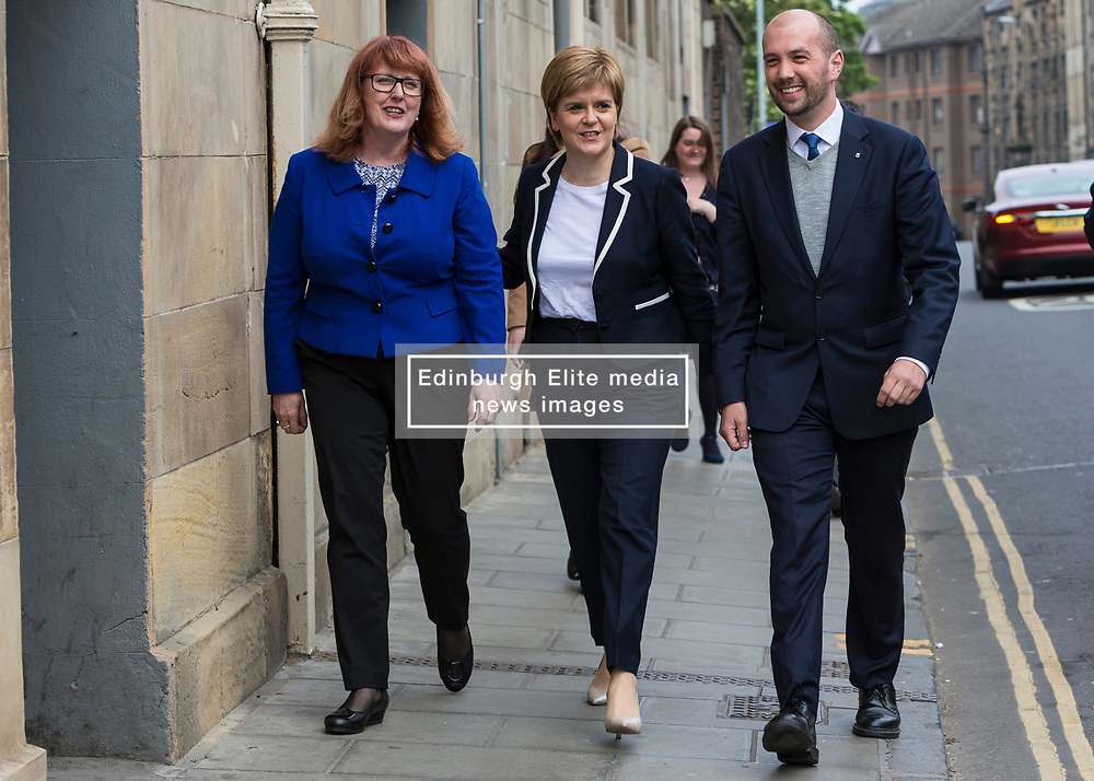 The First Minister, Nicola Sturgeon, campaigning in Leith by campaigning that the SNP will be a voice for young people.<br /> <br /> Pictured: Deirdre Brock MP, Nicola Sturgeon and Ben Macpherson MSP