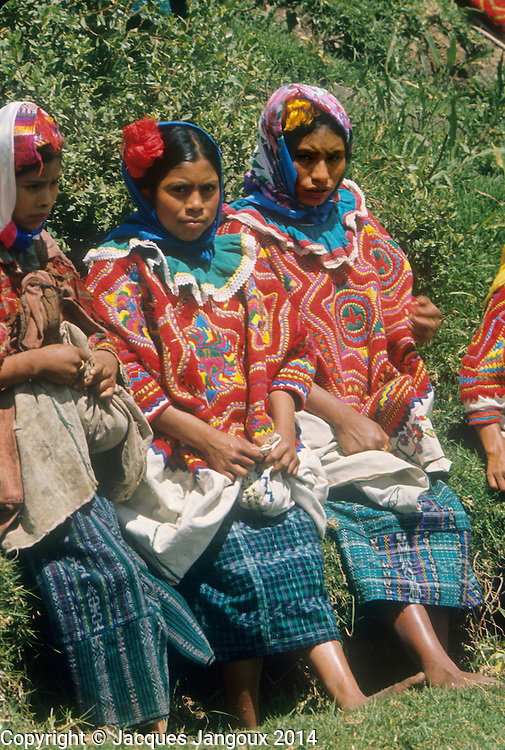 Central America, Guatemala: Maya Indian women from San Mateo Ixtatan in Cuchumatanes Mountains.
