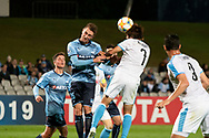 SYDNEY, AUSTRALIA - MAY 21: Sydney FC player Joel King (25) and Kawasaki Frontale player Shintaro Kurumayer (7) go up for the ball at AFC Champions League Soccer between Sydney FC and Kawasaki Frontale on May 21, 2019 at Netstrata Jubilee Stadium, NSW. (Photo by Speed Media/Icon Sportswire)