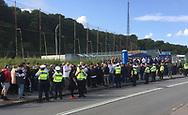 FODBOLD: FCK-fans i kø før kampen i ALKA Superligaen mellem FC Helsingør og FC København den 17. september 2017 på Helsingør Stadion. Foto: Claus Birch