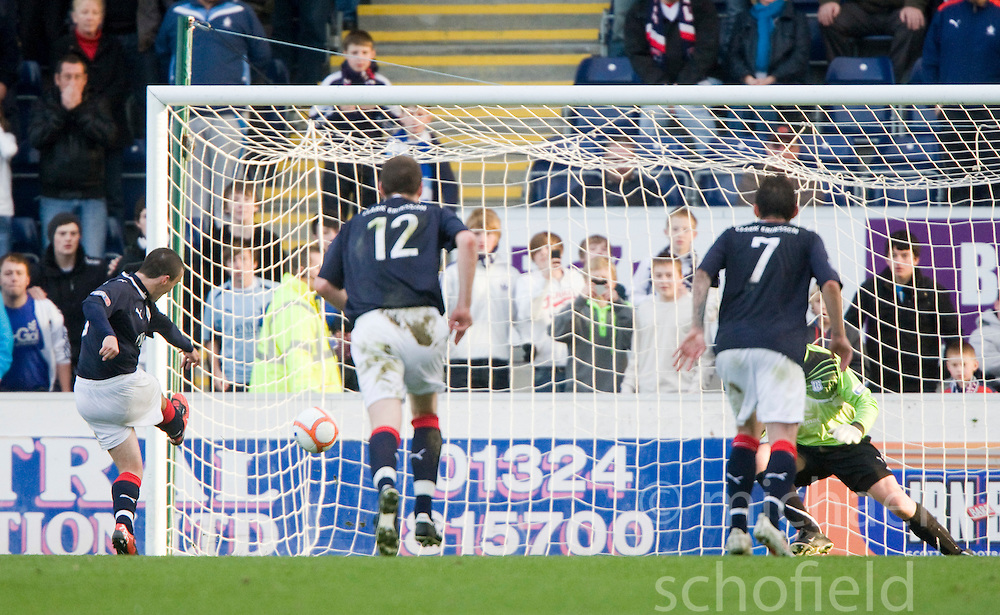 Falkirk's Mark Miller scoring their third goal from the penalty spot..Falkirk 3 v 3 Dundee, 30th October 2010..Pic ©2010 Michael Schofield. All Rights Reserved.