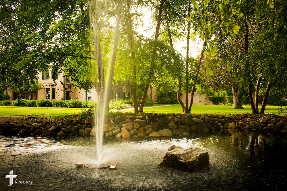 A photograph of a fountain near the Earhart Building at Concordia University Ann Arbor on Wednesday, July 2, 2014, in Ann Arbor, Mich. LCMS Communications/Erik M. Lunsford