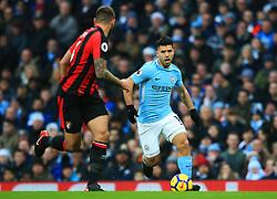 Sergio Aguero of Manchester City takes on Andrew Surman of Bournemouth - Mandatory by-line: Matt McNulty/JMP - 23/12/2017 - FOOTBALL - Etihad Stadium - Manchester, England - Manchester City v Bournemouth - Premier League