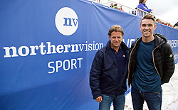 LIVERPOOL, ENGLAND - Saturday, June 20, 2015: Tournament Director Anders Borg with Liverpool boxer Callum Smith during Day 3 of the Liverpool Hope University International Tennis Tournament at Liverpool Cricket Club. (Pic by David Rawcliffe/Propaganda)