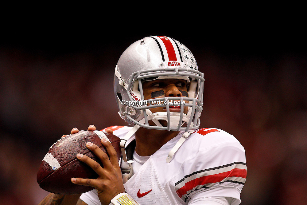 January 4, 2011; New Orleans, LA, USA;  Ohio State Buckeyes quarterback Terrelle Pryor (2) warms up prior to kickoff of the 2011 Sugar Bowl against the Arkansas Razorbacks at the Louisiana Superdome.  Mandatory Credit: Derick E. Hingle