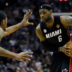 Jun 13, 2013; San Antonio, TX, USA; San Antonio Spurs small forward Kawhi Leonard (2) defends Miami Heat small forward LeBron James (6) during the third quarter of game four of the 2013 NBA Finals at the AT&T Center. Mandatory Credit: Derick E. Hingle-USA TODAY Sports