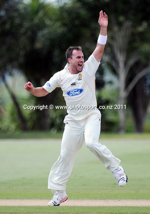 Wellington's Mark Gillespie appeals during a man of the match performance during the Ford Trophy Cricket match between Auckland and Wellinton at Colin Maiden Oval in Auckland, New Zealand on Monday 27 February 2012. Photo: Andrew Cornaga/Photosport.co.nz
