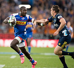 Stormers' Raymond Rhule, left, is tackled by Highlanders' Ben Smith in the Super Rugby match, Forsyth Barr Stadium, Dunedin, New Zealand, Friday, March 9, 2018. Credit:SNPA / Adam Binns ** NO ARCHIVING**