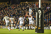 Ben Toolis rises high in the lineout during the Guinness Pro 14 2017_18 match between Edinburgh Rugby and Glasgow Warriors at Myreside Stadium, Edinburgh, Scotland on 28 April 2018. Picture by Kevin Murray.