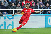 Liverpool defender Nathaniel Clyne  during the Barclays Premier League match between Newcastle United and Liverpool at St. James's Park, Newcastle, England on 6 December 2015. Photo by Simon Davies.