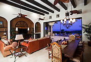 A beautiful four bedroom mexican contempo style property at Brisas cabo del sol in, with magnificent golf course front and wide ocean views. All amenites and fine decor including a casita equiped with kitchenet. Cabo del Sol high end Real Estate photography by Francisco Estrada photographer, photomexico studio in Los Cabos Mexico
