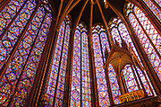 Stained glass windows in Sainte-Chapelle Chapel, Paris, France