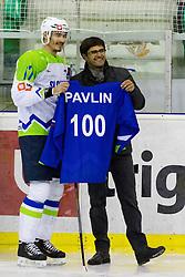 Ziga Pavlin and Matjaz Rakovec during the ice-hockey friendly match between National teams of Slovenia and Austria, on April 19, 2015 in Hala Tivoli, Ljubljana, Slovenia. Photo by Morgan Kristan / Sportida