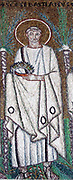 Saint Apollinaris (Apollinare -  c453-c520) Syrian saint, Bishop of Valence, France, from 486, greatly loved by his flock. Religion Christian Halo Laurel Wreath