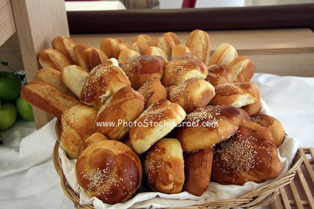 A basket with freshly baked rolls