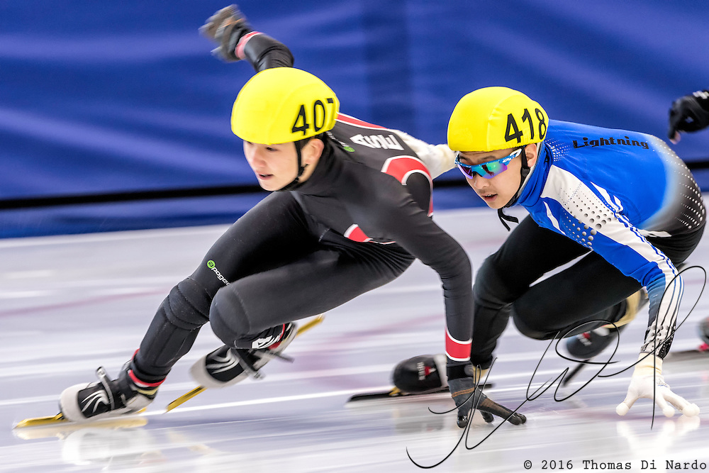 December 17, 2016 - Kearns, UT - Joel Foster and Alex Pak  skates during US Speedskating Short Track Junior Nationals and Winter Challenge Short Track Speed Skating competition at the Utah Olympic Oval.