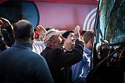 Waiting for Valverde. Fans at the Movistar bus eater to see Spanish cyclist and world champion Alejandro Valverde, Sant Cugat del Valles, Volta Catalunya 2019