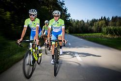 Nik Cemazar and Tadej Pogacar during photo session of Slovenian Cycling Team for 2018 UCI Road World Championships Innsbruck, on September 17, 2018 in Zgornji Brnik, Slovenia. Photo by Matic Klansek Velej / Sportida