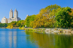Autumn colors reflected on the Jacqueline Kennedy Onassis Reservoir, Central Park